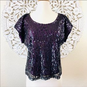{Laundry by Shelli Segal} Sequin Overlay Blouse